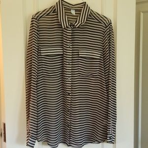 Old Navy Size L black/cream striped blouse sheer
